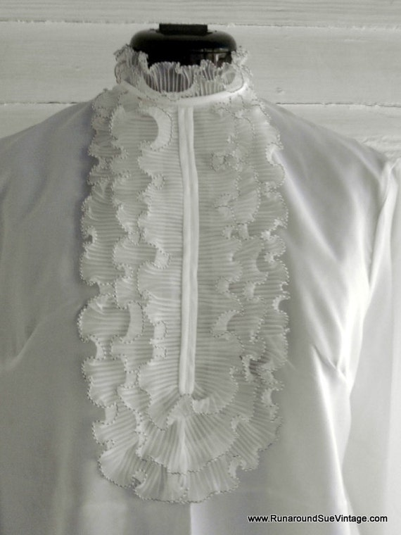 Vintage 1970s Ruffled Blouse - White with Black Stitching