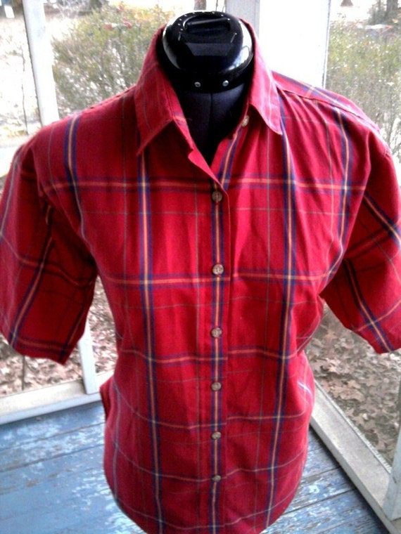 Geeky INDIE Retro 80s Red Plaid Shirt