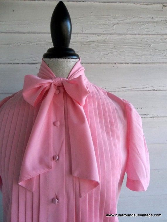 Vintage Secretary Blouse - Bubblegum Pink Spring Top with Pussy Bow
