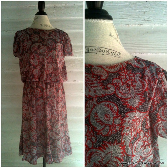Vintage Dress - 1980s Red Black and White and Paisley Dress