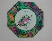 Floral Embroidered Octagon Table Topper - Stained Glass design  using hand dyed  fabrics