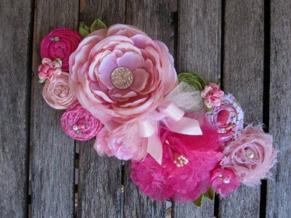 Shades of Pink Rosette Wedding or Maternity Sash Vintage-inspired w/ Handrolled Fabric Rosettes and Feathers