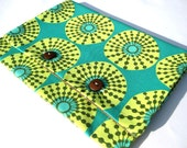 Nook / Nook Tablet Sleeve - Teal, Yellow & Grey Amy Butler Cotton Print w/ Brown Wool Suiting Tablet Sleeve - Made to Order
