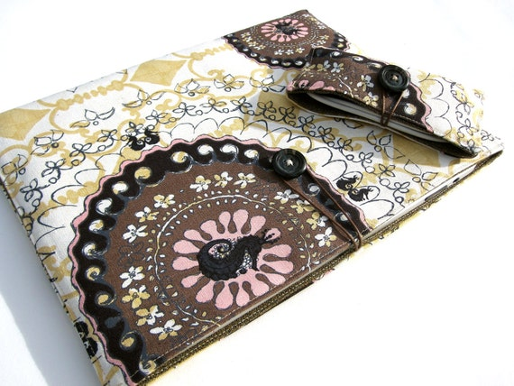 Modern Graphic Linen Print - Brown Wool iPad Case & USB Pouch Set - Women's Gift Set Ready to Ship