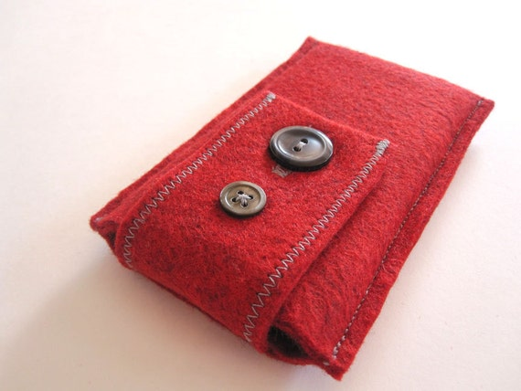 Red Wool Felt iPhone Case - iPhone 4 iPhone 4S iPod Touch - HTC Samsung Cell Phone Case
