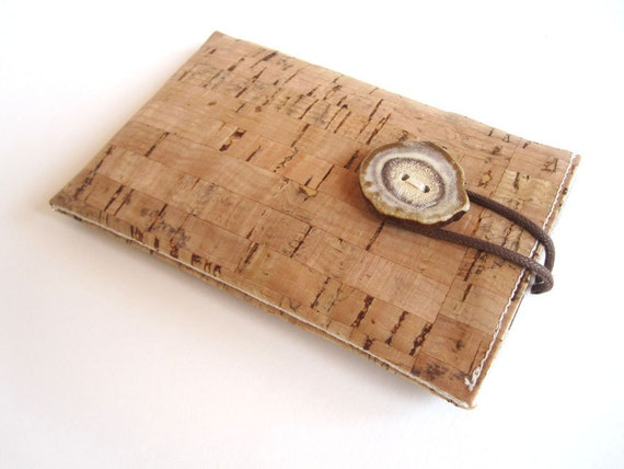Cork Device Case with Natural Beige Linen Lining - iPhone, Samsung, Nokia Made to Order