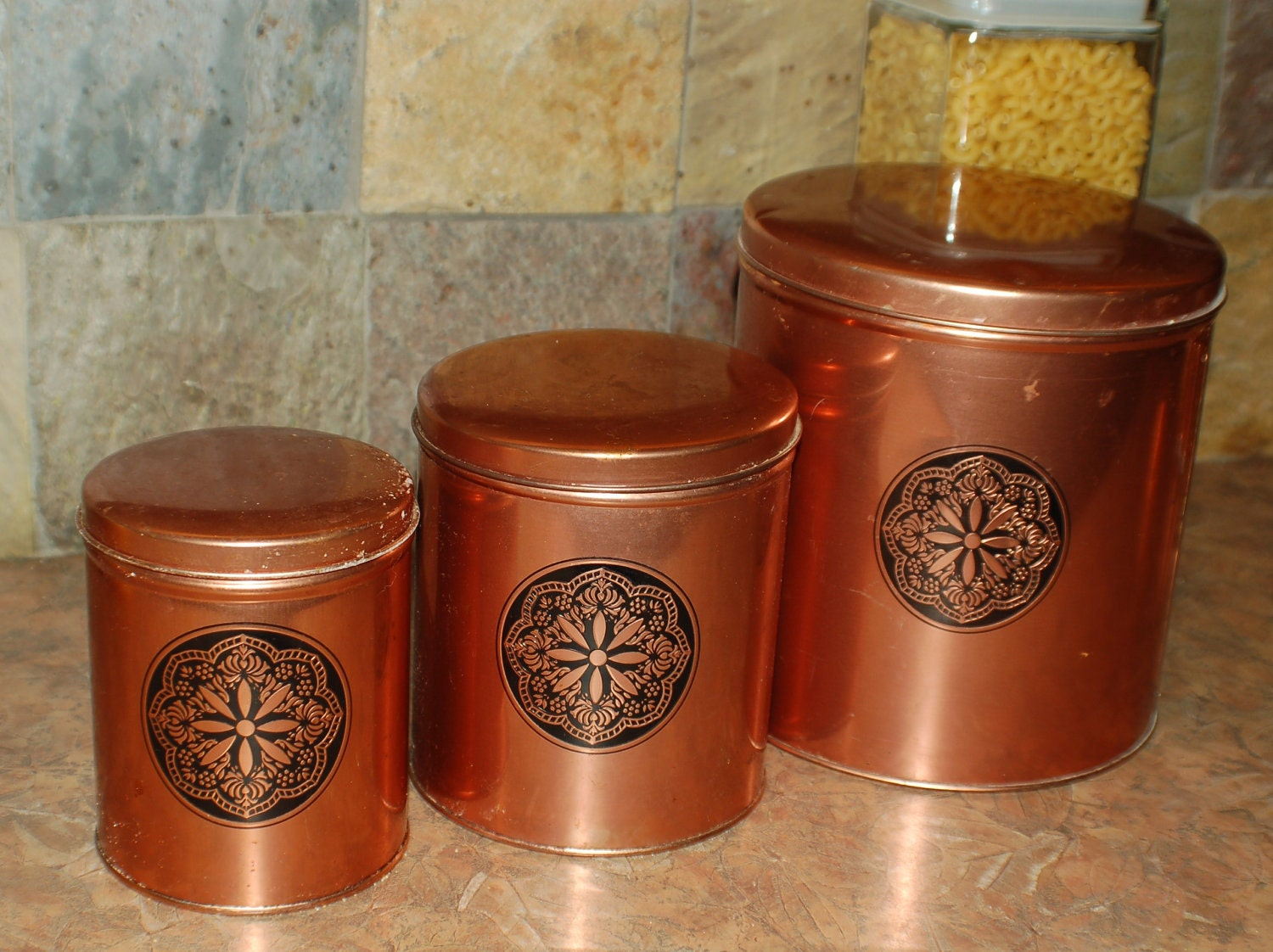 Vintage 3 Piece Canister Set Retro Kitchen By Renewvintageandwood
