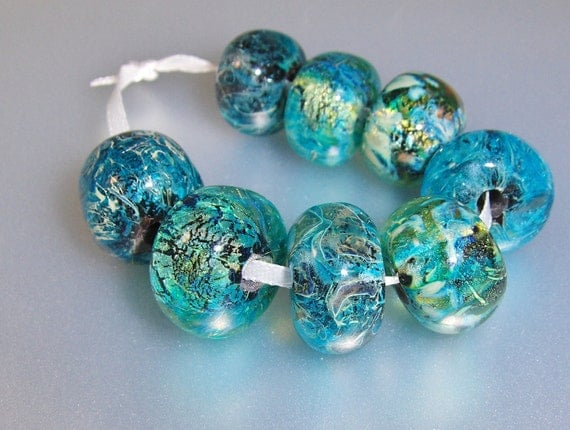 Handmade Lampwork Beads (8)- The Blues Collection-All Fired Up Studio