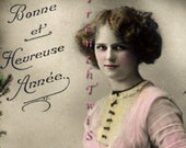 Romantic Victorian Woman - digital download - scan from Antique French Postcard