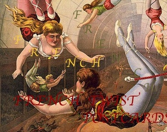 CIRCUS - Flying Trapeze Act- digital download - scan  from antique poster