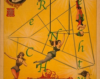 CIRCUS - Flying Trapeze Women on Trapezoid - digital download - scan from antique postcard