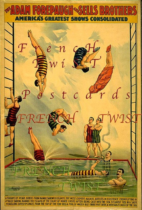 CIRCUS - MENS DIVING Act- digital download - scan from antique postcard