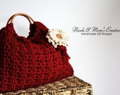 Crochet Purse in Red or Beige Choose Color