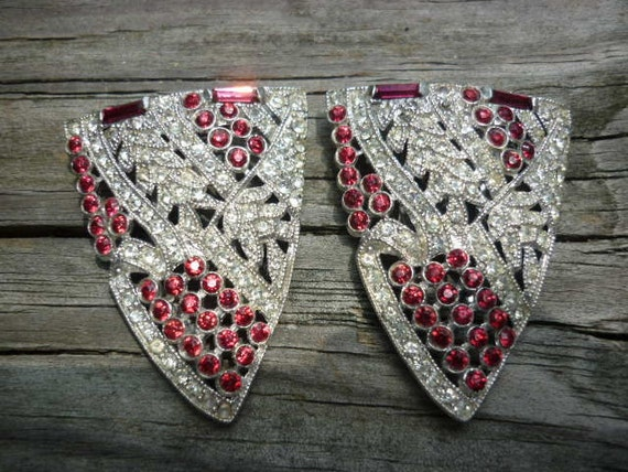 Stunning Art Deco Ruby and Crystal Dress Clips  pair