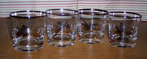 Ducks Fowl Geese Grouse Pheasant bar glasses cocktail glass set of 4 silver trim Barware