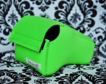 DSLR Camera Case - Lime Green / Black neoprene
