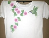 Hand Painted Hummingbird T Shirt-Large