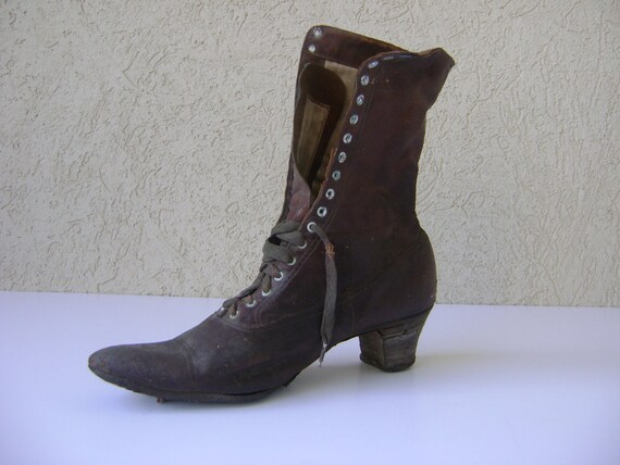 SALE- Victorian Era Women's Lace Up Boot--Early 1900's--Halloween Decor-Witch