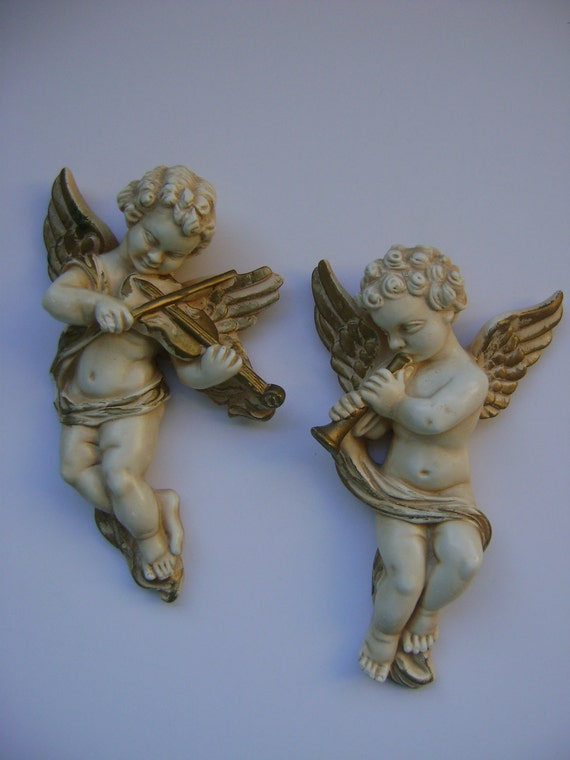French Chic Chalkware Cherubs/Angels-Wedding Decor-Valentines Day