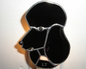 LT Stained glass black Poodle night light lamp solid black opal glass and pink opal glass collar