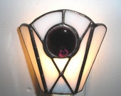 LT Stained glass white Simple night light lamp made with deep mauve glass nugget and white opal glass