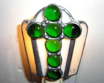 LT Stained Glass green Cross night light lamp with light beige tan streaked opal glass