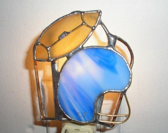 LT Stained glass football and blue helmet night light lamp sports dallas football