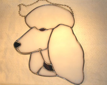 LT Stained glass white Poodle head domestic dog suncatcher light catcher with purple collar