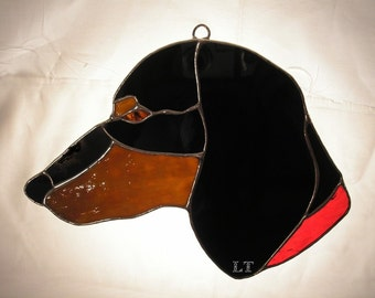 LT Stained glass black red Dachshund suncatcher light catcher domestic dog with red collar