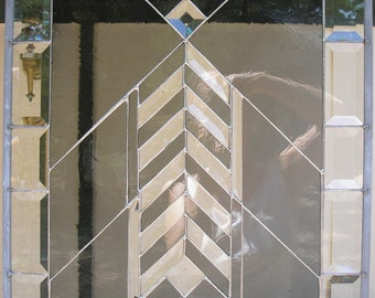 LT Stained glass Smoke and clear Bevel Chevron panel window hanging 23 x 17