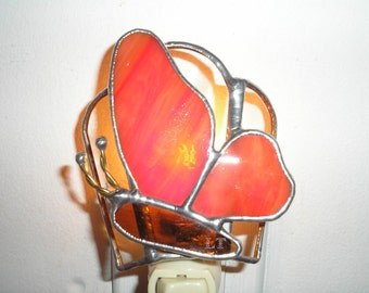 LT Stained glass Butterfly night light lamp made with streaked bright red with a dash of orange opal glass