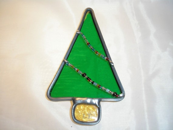 LT Stained glass green Christmas tree ornament suncatcher light catcher or tree ornament with glass beads