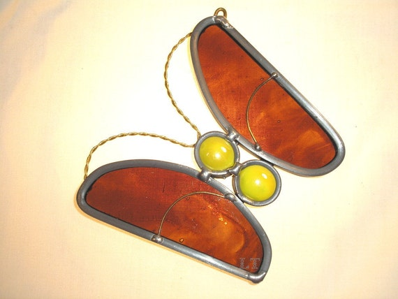 LT Stained glass gold mauve Butterfly sun catcher light catcher made with yellow glass nuggets