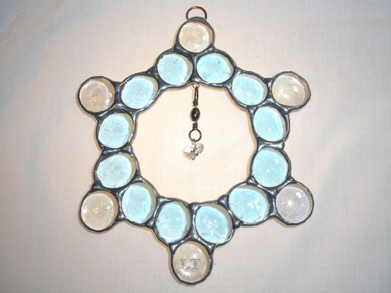 LT Stained glass, blue nugget suncatcher light catcher has a crystal heart hanging in the middle on swivel hook