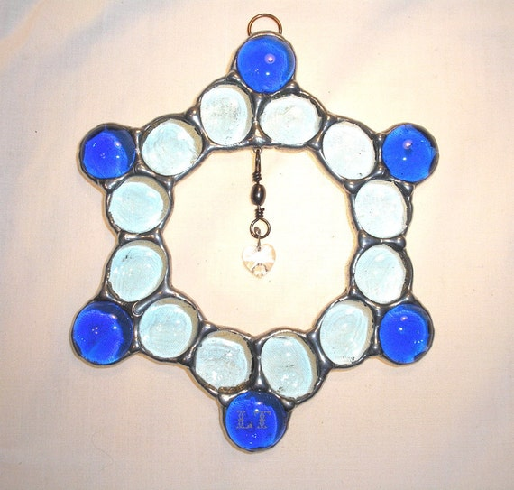 LT Stained glass blue nugget and crystal heart suncatcher light catcher made with light and dark blue nuggets