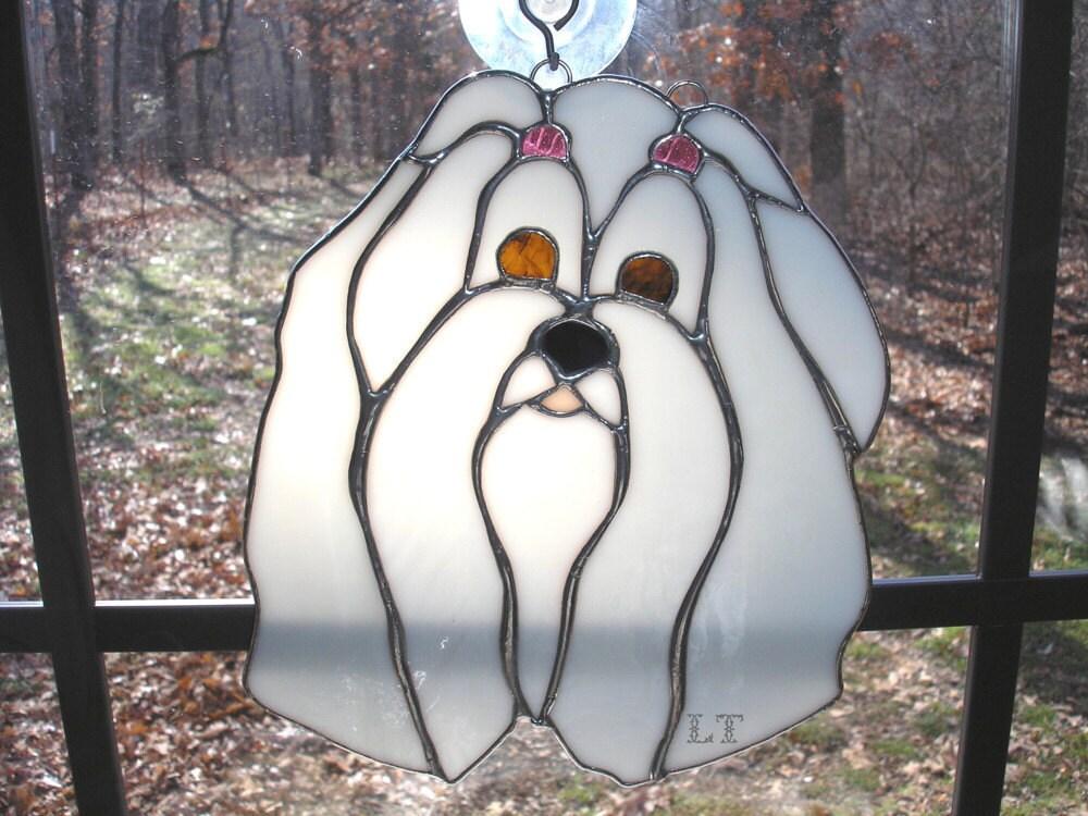 Lt Stained Glass White Maltese Domestic Dog Suncatcher Light