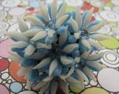 Repurposed Vintage Blue White Flower Rhinestone Cocktail Ring
