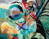 Fantasy Art Nouveau Painting - Primal Instinct (11 X 14)