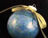 Blue Green Glass Christmas Ornament