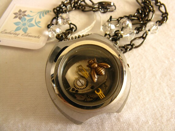 Steampunk Bee On Time Necklace - Glass Watch Case - Watch Parts