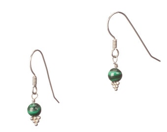 Malachite and Sterling Earrings - EMPOWERING - sale - Free US shipping