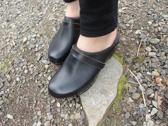 Swedish Black Leather Clogs Womens 42 US size 10