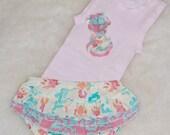 Pink Ruffled Baby Diaper Cover Set