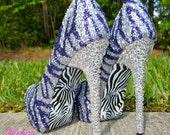 Zebra Purple & Silver Glitter Heels