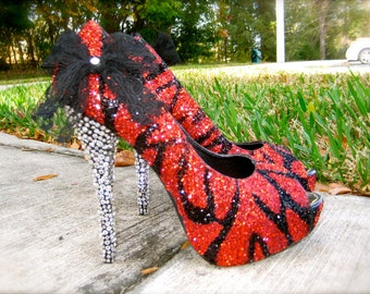 Zebra Red & Black Glitter Heels