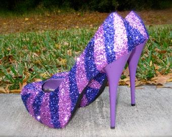 Pink & Purple Glitter Heels