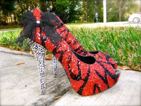Zebra Red & Black Glitter Heels