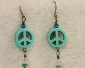 Turquoise Peace Sign Earrings - Howlite Peace Sign Charms with Clear and Turquoise Swarovski Crystals on Silver Gunmetal Earring Hooks