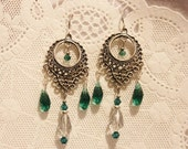 Teal and Silver Dream Catcher Chandelier Earrings