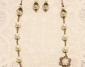 Ivory Cream Glass Pearl Wedding Necklace and Earrings Set - Ivory Glass Pearls and Antique Bronze Bead Caps on Bronze Chain